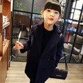 2016 Nueva Primavera Otoño Muchachas Del Estilo de Corea de Un Solo pecho Boutique Abrigos de Lana Outwear y Chaquetas de Los Niños Ropa de Bebé 2-8 Años