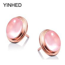 YINHED Luxury Natural Pink Quartz Stone Earring Rose Gold Fashion Stud Earrings for Women Jewelry Gift (With Box) ZE0033(China)