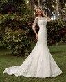 Dreagel Romântico Barco Rendas Pescoço de Três Quartos Vestido de Casamento Da Sereia 2017 Delicate Apliques de Lantejoulas Vestido de Noiva Robe de Mariage