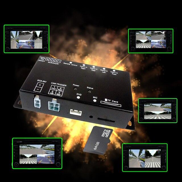 Mini enregistreur DVR Intelligent pour voiture, carte SD, panoramique, surveillance de la conduite, enregistreur de trafic, quatre vues, vidéo, 4 canaux, caméra CCd
