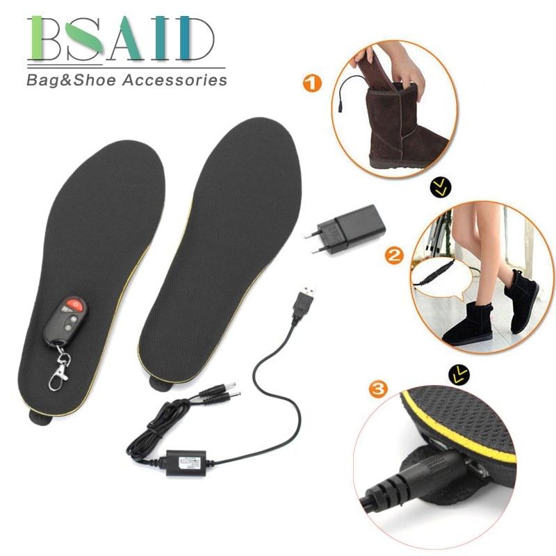BSAID Électrique Chauffée Semelles télécommande, Réglable Longueur Automne Hiver chauffe-pieds Chauffage Semelles Chaussures Bottes patins