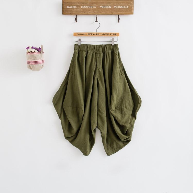 Damen Baumwolle Leinen Lose Haremshose Frauen Kleidung Strench Taille - Damenbekleidung - Foto 3