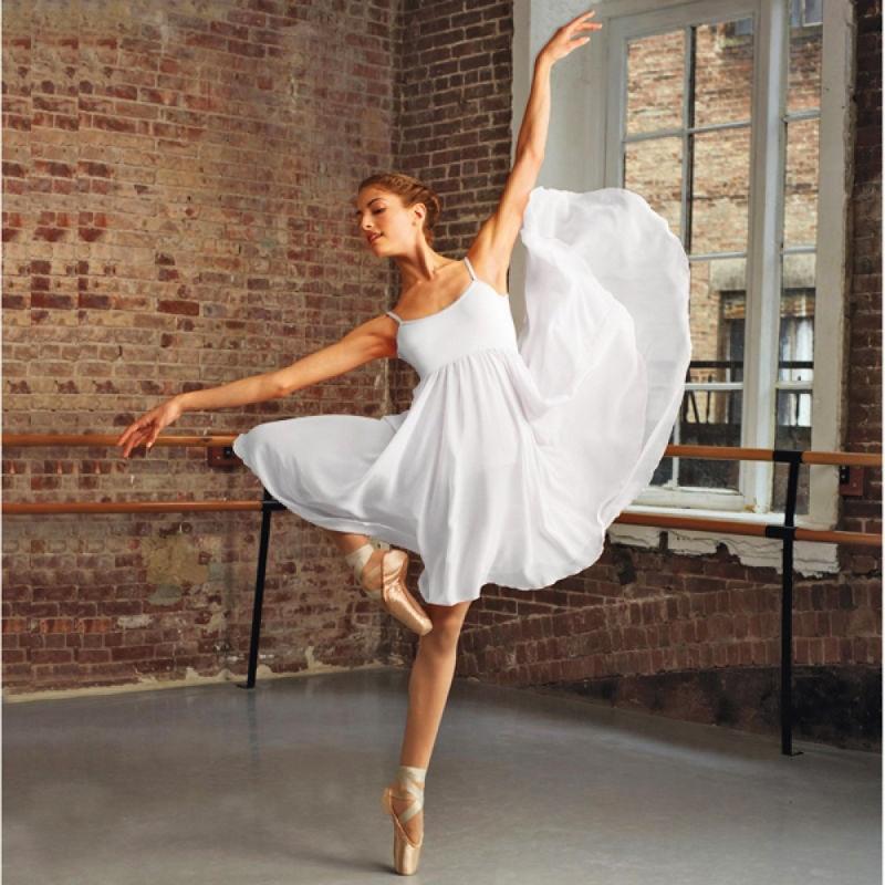 Women dress lyrical dress ballerina ballet dress camisole empire seam dress cotton chiffon dance dress long dance skirt