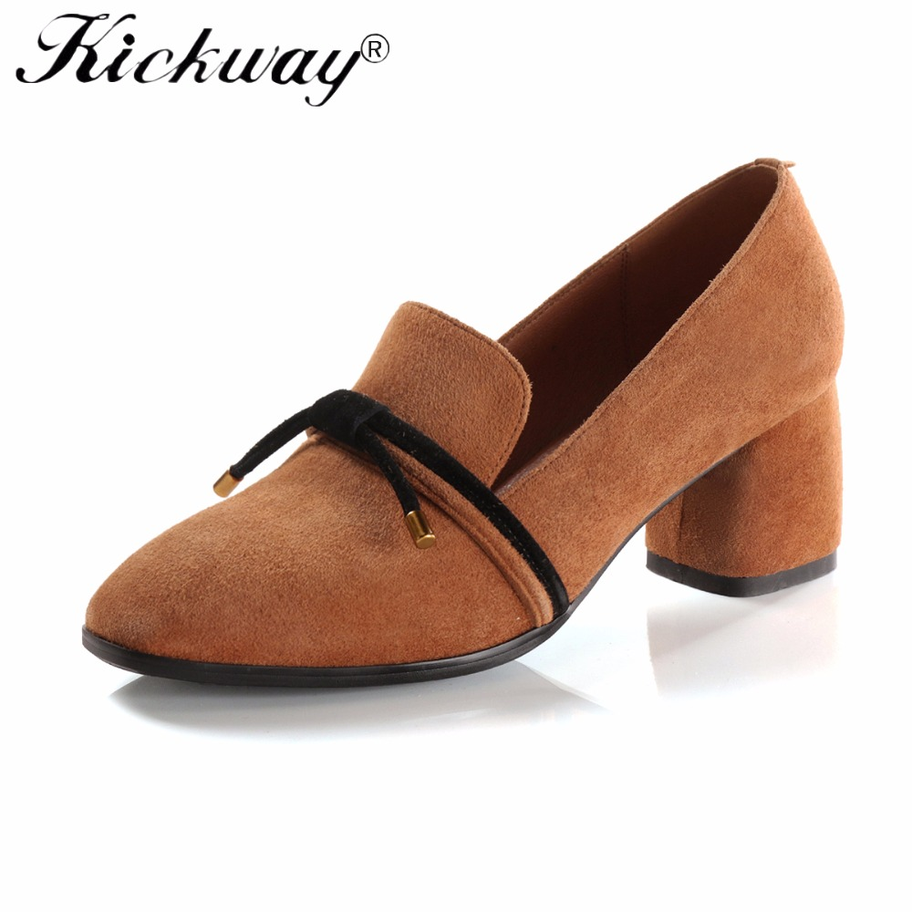 Women Thick Heel Pumps Women Elegant Shoes High Heel Genuine Leather Round Toe Black Yellow Dress Shoes For Office Ladies Size42