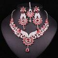 Новый Женский Мода Цветочный Позолоченные Свадебный Комплект Ювелирных Изделий Кристалл Индийской Лоб Лента Для Волос Серьги Ожерелья Устанавливает Свадебные Платья