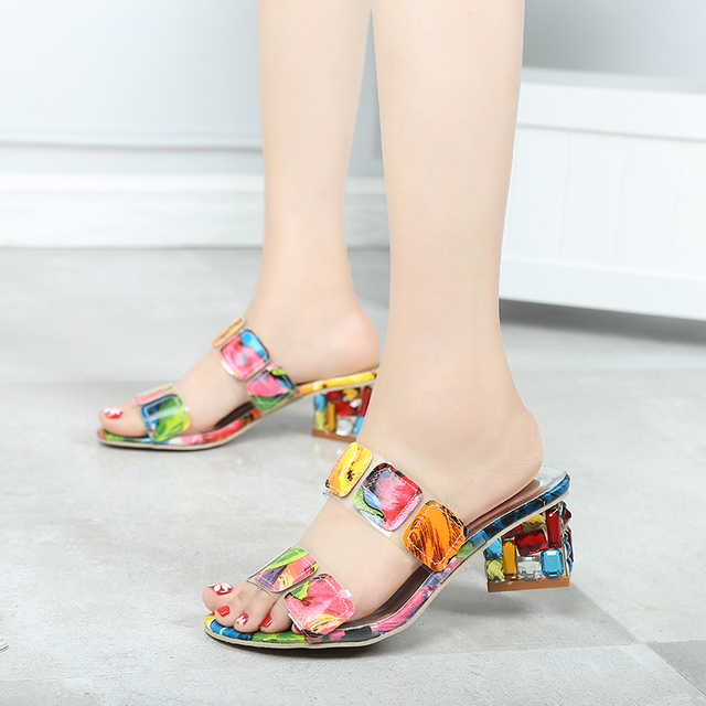 2019 New Summer Women Multi Colors Sandals Fashion High Heels Open Toe Beach Flip Flops Ladies Crystal Heels Shoes Woman XWT1893 3
