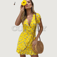 Cuerly V neck summer print floral dress women 2019 ruffle wrap short boho beach dress vestidos Elegant party dress  L5