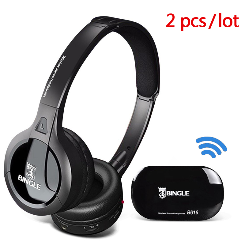 2 pcs Wireless Connection TV Transmitter Headphone with FM Radio headset Music audio big Earphone For TV Computer Bingle B616