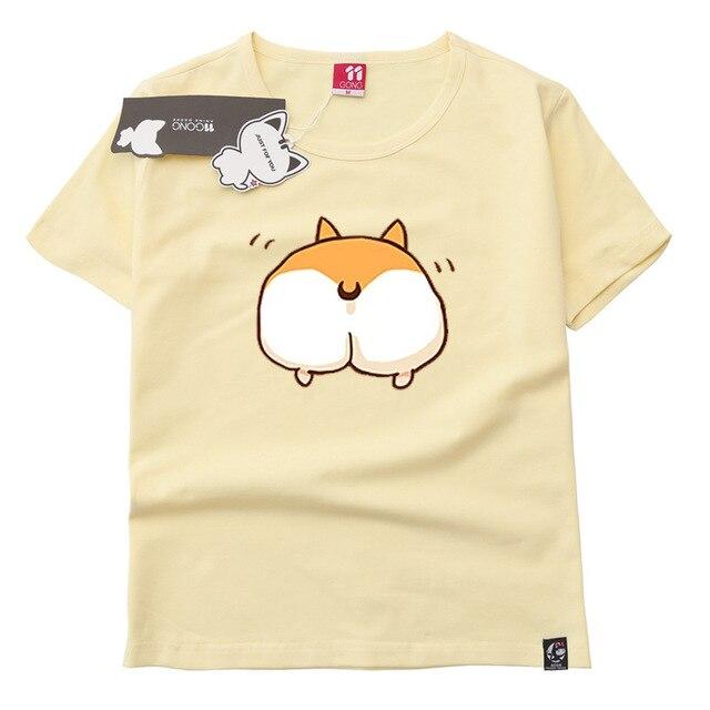 20aa607a061c Women s Wear Cute Pet Print Tops Summer Cartoon Corgi Butt Casual Girls T  shirt Top O Neck Pullover Short Sleeve Tee Shirt