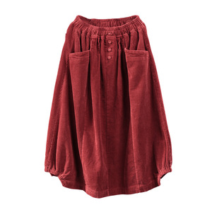Image 5 - אביב סתיו חצאית רטרו נשים אלסטי מותניים חצאית רופף כיס כפתור מוצק צבע מוצק צבע מזדמן גבירותיי ניצן חצאית 2019
