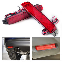 2x Red Lens LED Bumper Reflector Rear Tail Brake Light Fit For Nissan Juke Quest Murano