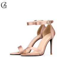 Купить с кэшбэком GOXEOU/ 2019 summer new style satin round fine with word sandals fashion high heels size32-46
