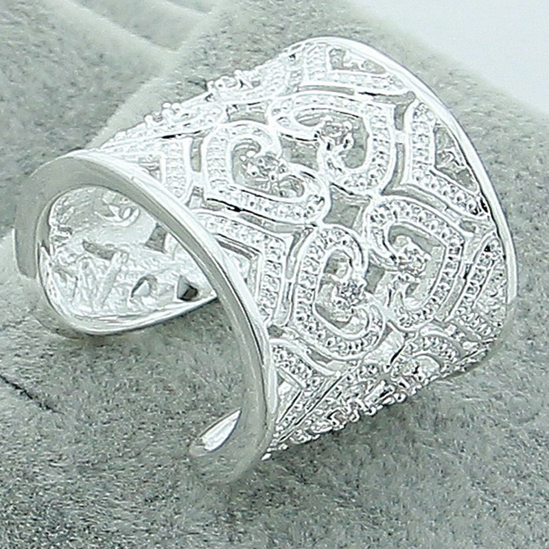Luxury Brand 925 Silver Rings Fashion Pretty Heart <font><b>Crystal</b></font> Rings Adjustable For Women Rose Gold Color Rings Wedding Gift image