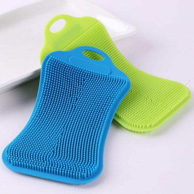 ซิลิโคนจานล้างฟองน้ำ Scrubber ครัวทำความสะอาด Antibacterial เครื่องมือสินค้าสำหรับ home kitchen แปรงทำความสะอาด