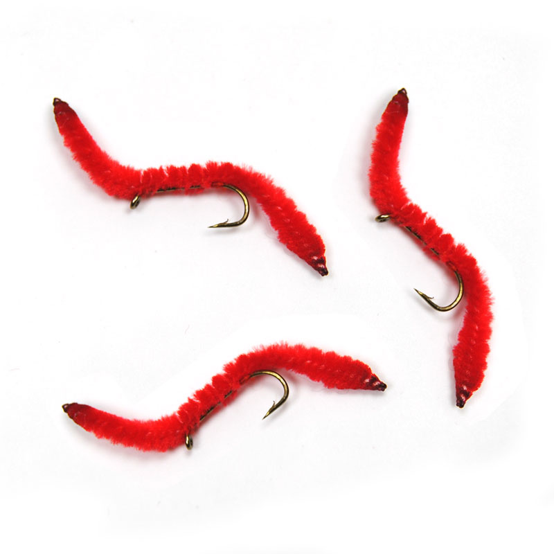10PCS Red San Juan Worm Aquatic Worms Wet Nymph Trout Fly Fishing Bait 12# image