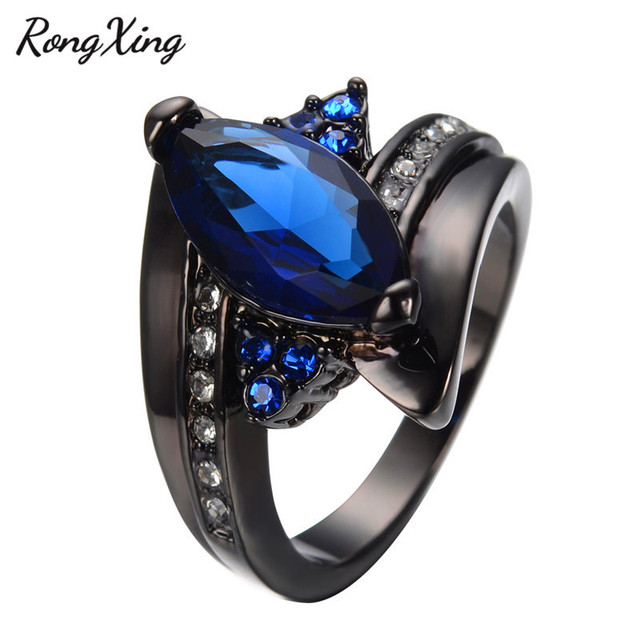 Elegant Marquise Cut Blue Stone Ring Charming Promise Jewelry Men
