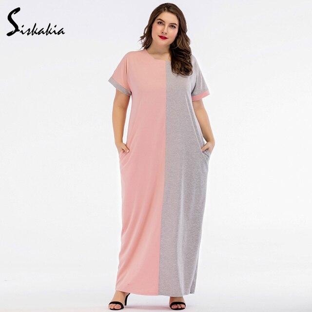 d24275d754d9 Siskakia Summer 2018 contrast color Block Maxi long Dress for women pink  grey casual plus size T shirt dresses Brief elegant