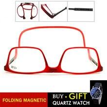 b2cd8d4dda Plegable gafas de lectura magnética imán de las mujeres de los hombres de  cuello halter gafas