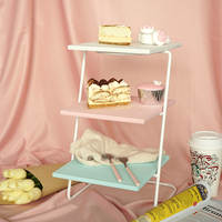 Painting Wood Cupcake Holder Display Stand 3 Lay Afternoon Tea Plate Dessert Frame Cake Decorating Tools Blue Pink White