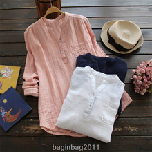 Fashion Women Ladies Casual Long Sleeve Cotton Linen T-Shirt Tops Size S-5XL