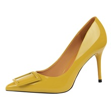 Hot Sale Square Buckle Fashion OL Office Shoes New Women's Concise Patent Leather High Heels Shoes Pointed Toe Women Pumps K0027 memunia hot sale 2018 fashion platform shoes stiletto high heels round toe high quality patent leather buckle women pumps