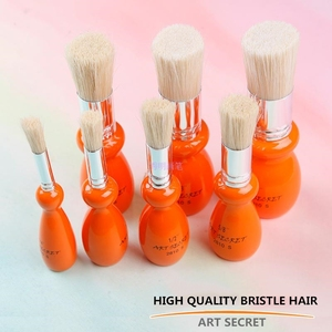 Image 3 - 2810S high quality 7PC/Lot hog bristle hair oak wooden handle brass ferrule oil and acrylic brush