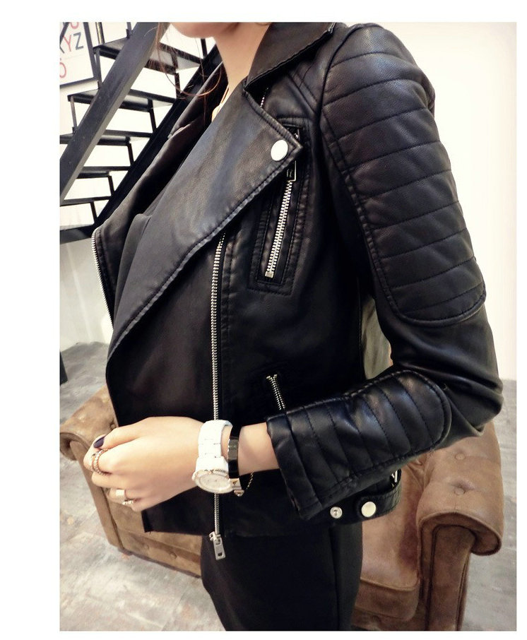 2019 New Fashion Women Faux Soft   Leather   Jackets HOT Autumn Winter Pu Black Blazer Zippers Coat Motorcycle Outerwear