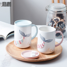 JOUDOO Europe Ceramic Coffee Mug With Lid Special Emboss Mermaid Tail Cup Ins Office Home Tea Water Couple Drinkware Wholesale35
