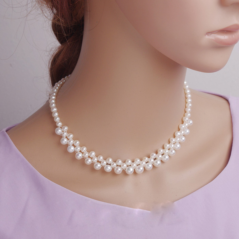 RUNZHUQIYUAN 2017 100% collier ras du cou perle d'eau douce naturelle 5-6mm7-8mm perle 925 bijoux en argent sterling offre spéciale pour les femmes