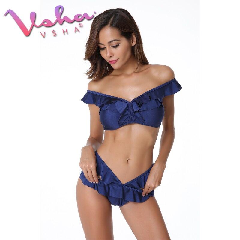 VSHA Volant Costumi Da Bagno Bikini Delle Donne Blu 2018 di Estate ...
