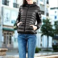 Women Casual Hooded Long Sleeve Light Weight Solid Warm Jacket