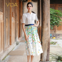 VOA Womens White Floral Short Sleeve Silk Midi Dress A7583