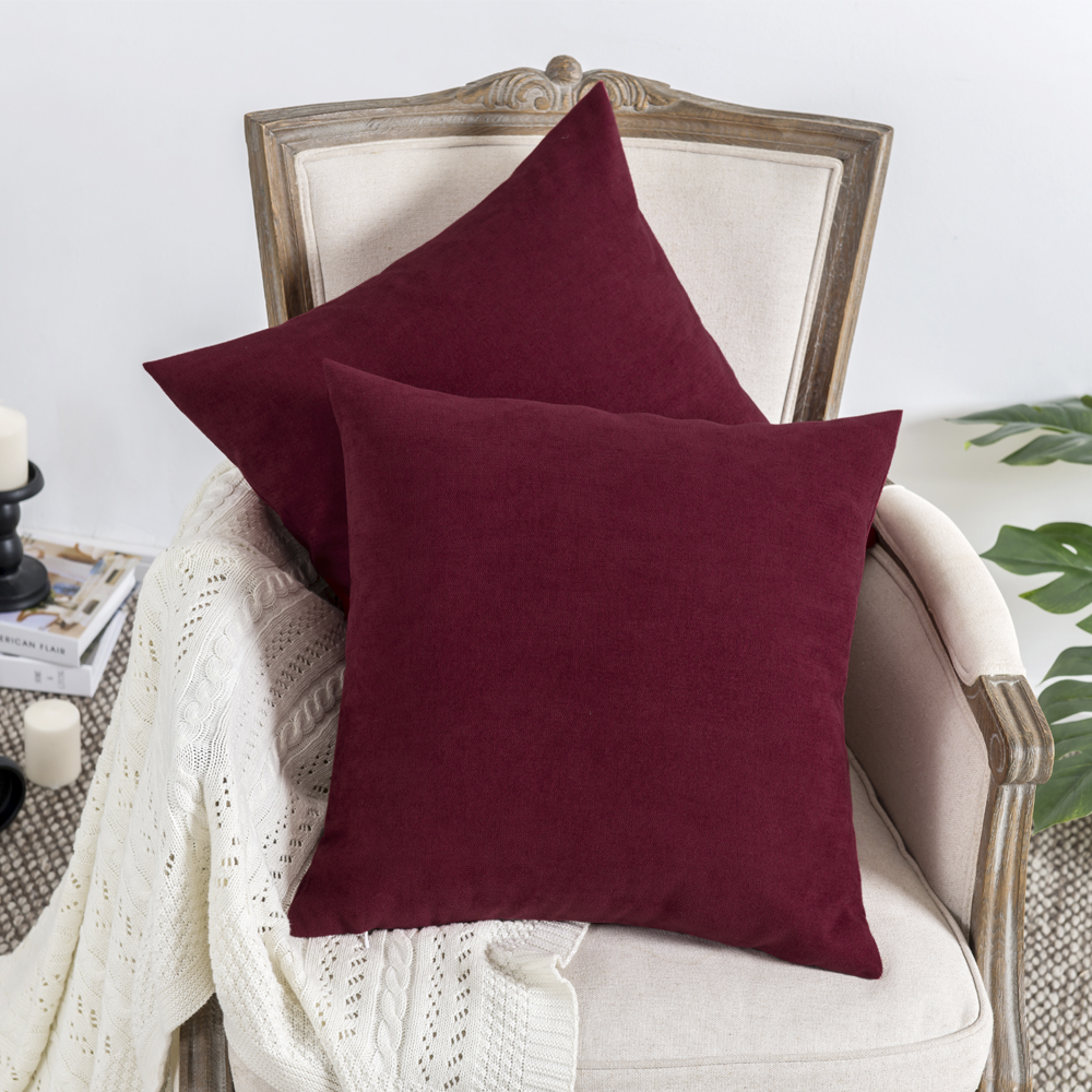 2 Pack Luxury Velvet Cotton Wholes Pillow Cushion Silver Grey Blue Cover Burgundy Home Decorative