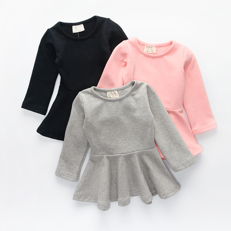 Autumn baby girls cotton dress candy color long sleeves baby girls dresses kids casual basic clothing inc international concepts women s long sleeves cotton blouse 4 candy pink