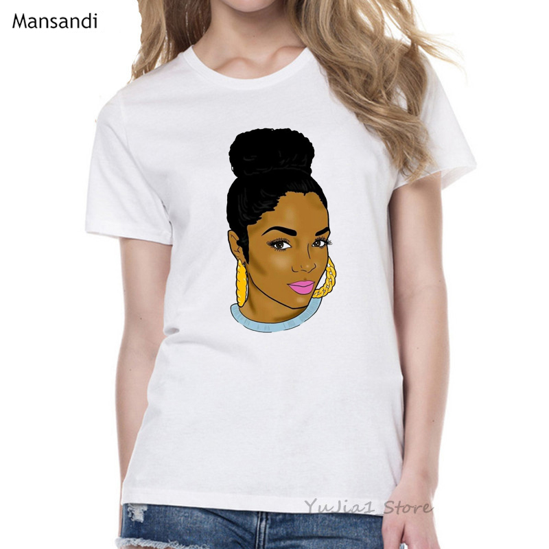 Melanin Poppin Shirt vogue t shirt women black African Curly Hair girl printed tshirt femme harajuku clothes female t-shirt tops 9