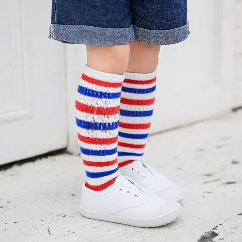 New autumn socks Kids Long Socks Knee High toddler Girls Boot Sock Leg Warmer Cute striped Black baby Cotton Sock for baby girls
