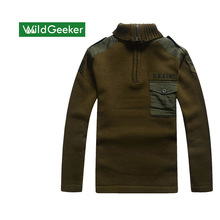 Wildgeeker Men's Sweater Spring Winter Thick 100% Cotton Pullovers Turn-down Collar Casual Army Knitwear Sweater Size S-2XL
