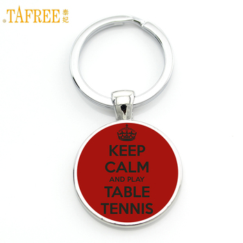 TAFREE Brand men women jewelry fashion Love Table Tennis keychain new pingpong fans gifts key chain ring for sports lover SP330 image