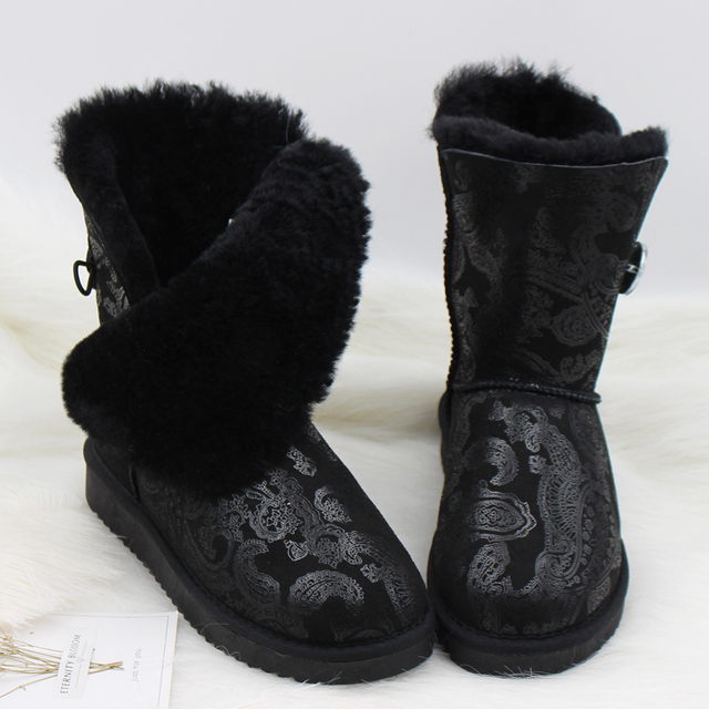2018 Genuine Sheepskin Leather Snow Boots Australia Classic Women Boots  Women Shoes Warm Winter Boots 7880bc13b