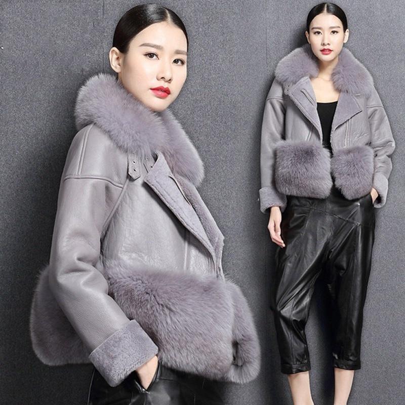 Rusia invierno señoras abrigo de piel Real mujeres con cuello de piel de zorro Natural chaqueta de piel de oveja auténtica piel de cordero dentro de zorro de piel