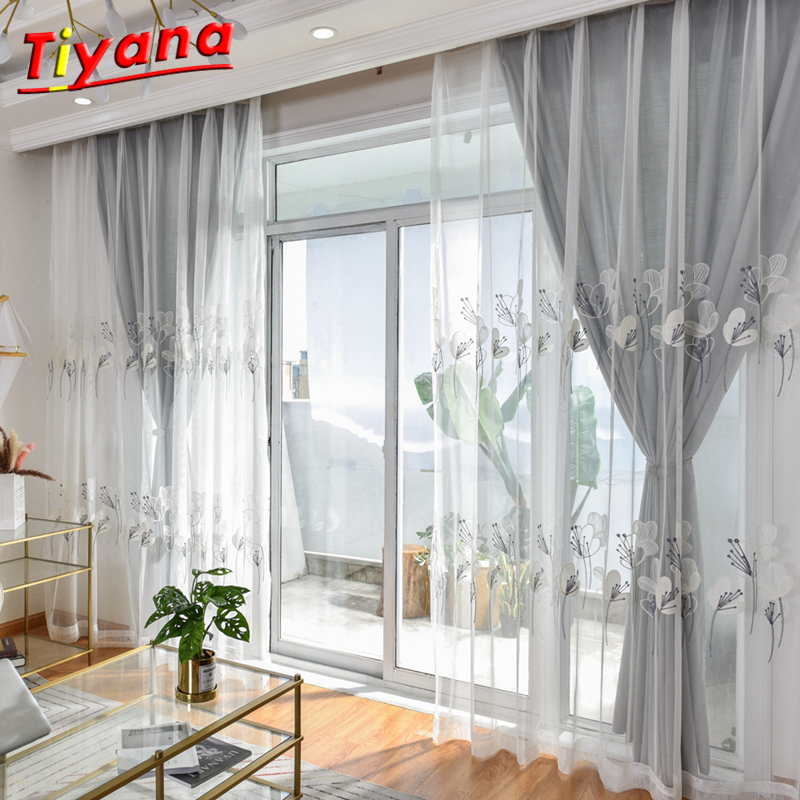 Voile Tulle American Curtains For Living Room Soft GREY