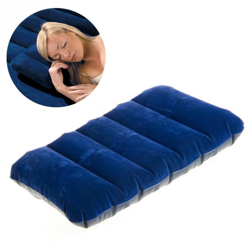 47x30cm Camping Mattress Portable Inflatable Flocked Pillow Outdoor Travel Cushion Home Space Saving Pillows