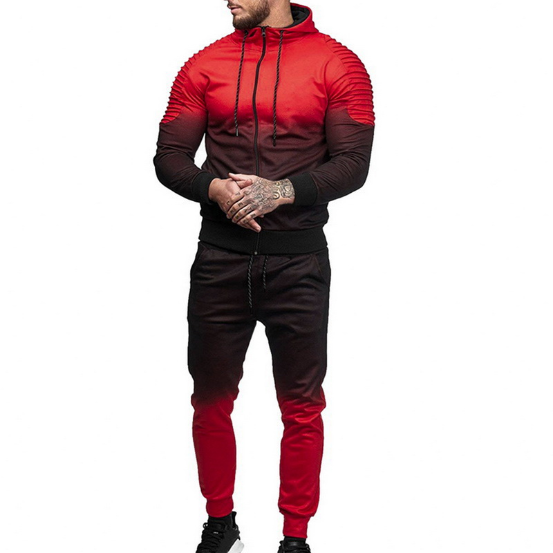Oeak Casual Mens Set Tracksuit Fashion 3D Print Draped Long Sleeve Hoodies Zipper Tops And Pants 2019 Autumn Jacket And Trouser