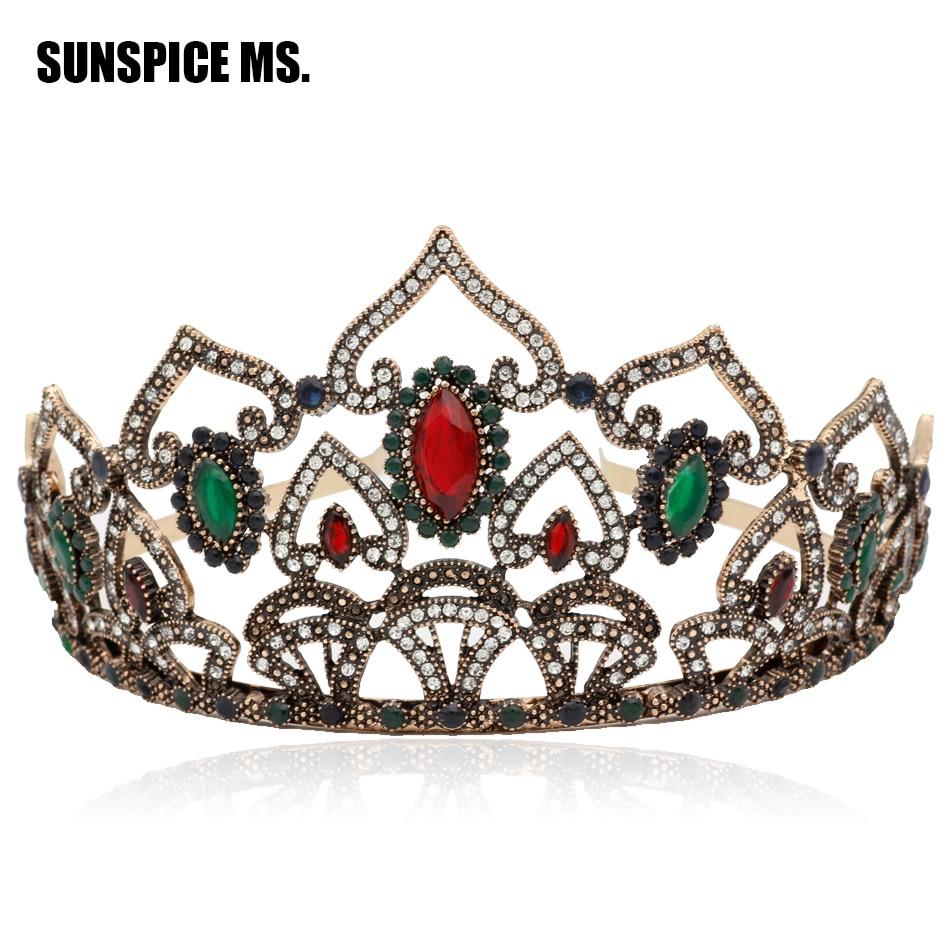 Exuberante turco reina princesa resina flor corona mujeres tiaras ...