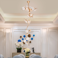 Modern Brass Chandelier Lighting LED Copper Branch Chandeliers Glass Drop Copper Pendant Hanging Light for Living Dining Room
