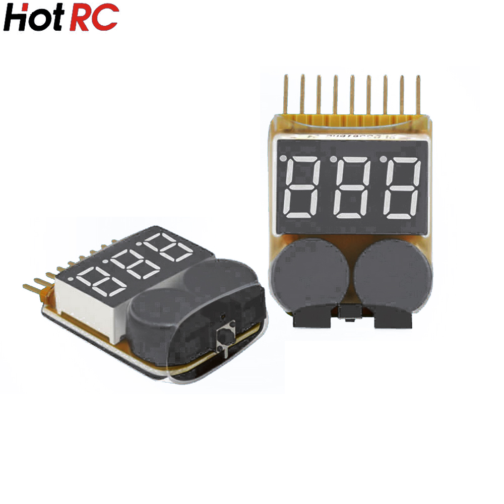 1pcs HotRc 1-8S LED Low Voltage Buzzer Alarm Lipo Voltage Indicator Checker Tester rc model 2s 3s 4s detect lipo battery low voltage alarm buzzer