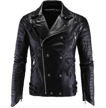 Motorcycle Jacket Classic Vintage Mens PU Leather Jackets Black Biker Jacket Coats Retro Casual Moto Jacket mens pu leather jacket male business casual coats thick coats slim clothes jackets men cowboy jackets classic motorcycle bike
