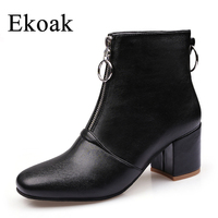 Ekoak 2017 Autumn Winter Women Ankle Boots Ladies High Heels Shoes Woman Fashion Zip Motorcycle Boots