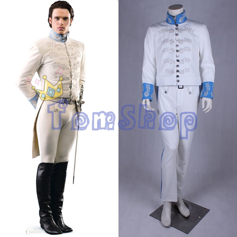 Cendrillon Prince Charmant Richard Madden Cosplay Broderie Smoking Outfit Tenue Hommes de Halloween Costumes Sur Mesure