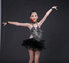 black blue white child tassels latin dance ballroom girls stone latin dance dress girl dance dress sexy latin dresses girl